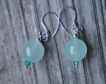 925 Sterling silver dangle earrings, silver and jade earrings, seafoam natural jade beads, sterling silver earrings, gift for a woman