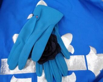 Vintage Ladies Blue button trims Cotton Gloves - 50s - 60s