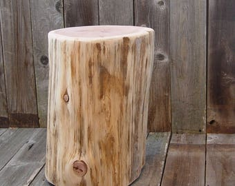 Tree Stump Side Table, timber end table, tree log table base, reclaimed wood live edge, reclaimed side table, 3 sizes, natural wood stump