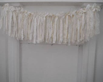 rag garland cream white garland shabby decor holiday garland holiday decor french country cottage chic tattered garland 3 feet