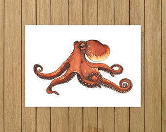 """Giant Octopus, Octopus, Print, Watercolor, Giclee Illustration, Home Decor, Kids Room, Nursery Decor, A5, 8.5""""x11"""", A4, A3, 13""""x19"""""""