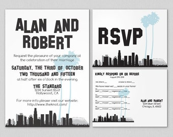 Printable Los Angeles Invitation Wedding Party Special Event Printed Hollywood Sign Skyline Travel Other Cities available