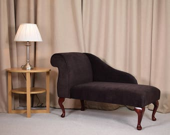 "41"" Small Chaise Longue in a chocolate casper dimple Fabric"