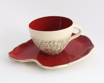 Red cappuccino cup with saucer, wheel thrown teacup, stoneware cup, handmade mug, Big coffee cup, Pottery mug, Birthday gift