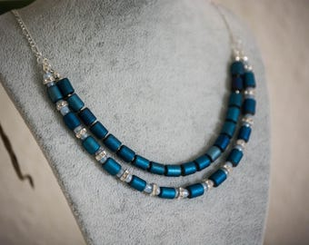 Unique gift, Christmas gift, Layered Blue Necklace, Multi-Strand Necklace, Elegant, Classy, Statement