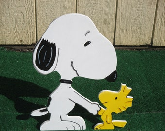 Peanuts Snoopy and Woodstock Yard Sign