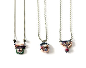 Fabric Pendant Necklace - Hand Sewn and Beaded - Choose One - Limited Edition Painted City Collection