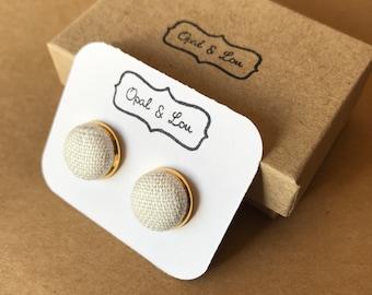 Fabric Button Earrings / Cream Linen
