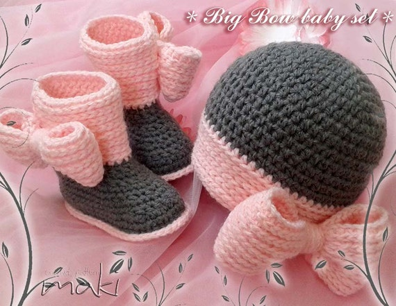 BIG BOW baby set - Crochet pattern set - baby boots and hat. Full of ...