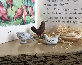 Miniature painted lead chickens