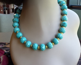 One strand faceted turquoise necklace