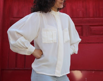 Oversized cream blouse