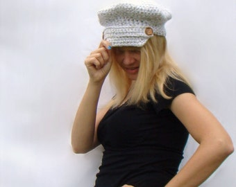 Crochet Brimmed Cap, Womens Crochet Hat with Button Strap, Grey Gray White Brimmed Hat