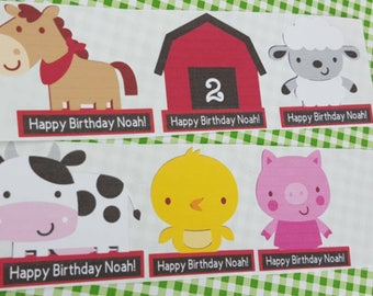 12 Personalized Farm Party/Barnyard Inspired Favor Stickers/ Adhesive Party Tags