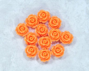 12 Orange Rose Cabochon Orange Flower Cabochon 11mm Rose Cabochon Orange Floral Cabochon