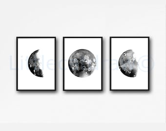 Moon Phases Art Prints Set of 3 Wall Decor Home Decor Watercolor Painting Print Celestial Wall Art Luna Print Moon Phase Bedroom Decor