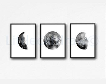 Moon Phases Art Prints Set of 3 Wall Decor Home Decor Watercolor Painting Print Celestial Wall Art Luna Print Moon Phase Bedroom Decor