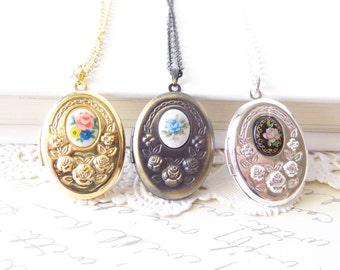 Gold Silver Brass Oval Locket - Vintage Cameo Limoges - Gold Locket - Silver Locket - Brass Locket - Photo Locket - Keepsake Locket