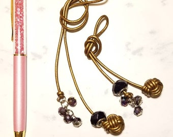 Leather Monkey Fist Knot Traveler's Notebook Bronze Fantasy Bookmark with charms.-Made to Order