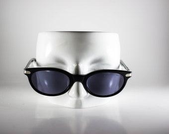 ROLLING Vintage Sunglasses Unisex Black Metal Plastic Clubmaster 1990s ROLS149P-1