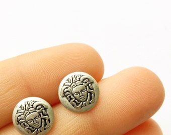 ATHENOS Tiny Metal Medusa Stud Earrings in Matte Silver. FAST Shipping w/Tracking for US Buyers. Gift Box w/Ribbon Included.