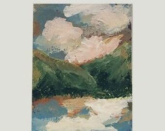 Landscape Paitning, Moutnains, Lake, Clouds, ACEO, Original Painting, Original Art, Art Collection, Miniature Painting, Winjimir, Decor, Art