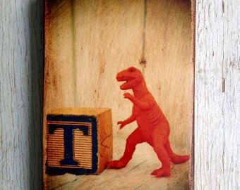 Vintage Toy  T - Rex Art/Photo - Wall Art 4x6