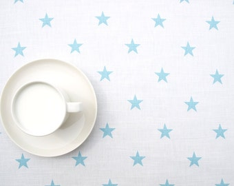 Tablecloth white pale sky blue stars table cloth , table runner , napkins , pillows , curtains available, great GIFT
