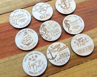 Save the date magnets. 10 pieces. Wooden magnets. Rustic. Wood etched - Nautical Designs