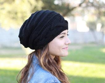 Slouch beanie women, Slouch hats women, Black knit hat, Black hat