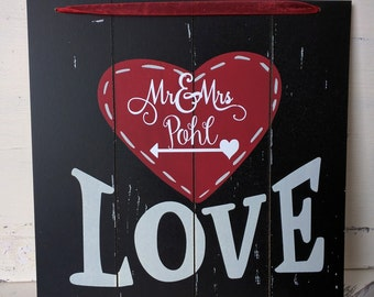 Wooden Black & Red Heart Sign with Standard LOVE logo. Personalize this 10 x 10 Sign