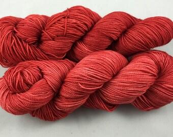 hand dyed sock yarn, fingering weight, superwash merino wool and nylon, VAMPIRE TOES colorway