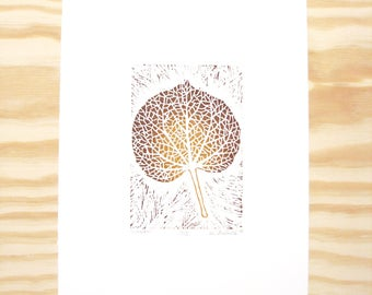 """Woodblock Print - """"Linden"""" Leaf Print - Fall Autumn Leaves - Brown and Ochre"""