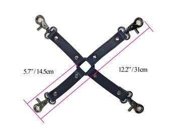 BDSM 4-way, hog-tie, Navy Cow  Leather, connector for bondage cuffs, restraints,bdsm accessory, bondage restraint,bondage hogtie(mature)