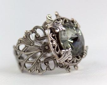 Silver RING Swarovski Adjustable size, Grey Gray, Black Diamond, engagement ring Wedding, Women Size 4 4.5 5 5.5 6 7 7.5 8 9 10 11 12 13 14
