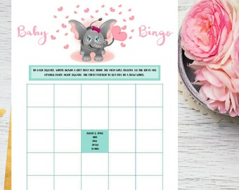 Pink Elephant Baby Shower Bingo Printable Game