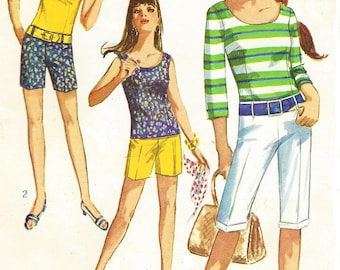 1960s Teen Hiphugger Pants in 2 Lengths and Blouse Simplicity Sewing Pattern 6938 Size 16T Bust 36 Clamdigger Shorts and Tank Top