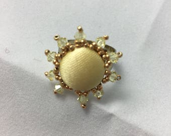 Sunshine Yellow Beaded Button Adjustable Ring