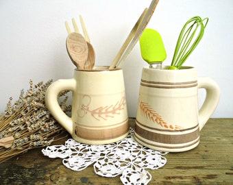 Vintage Ceramic Utensil Holder Crock Pottery Utensil Holder Jar Pot with Handle Beige Brown Trim Rustic Glazed Stoneware Country Kitchen