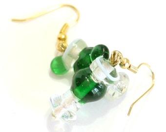 Green Cocktail Glass Lampwork Glass Bead Earrings - Margarita Earrings