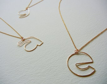 Lowercase Initial Necklace-Personalization Jewelry-14k Gold filled wire-Monogram Pendant