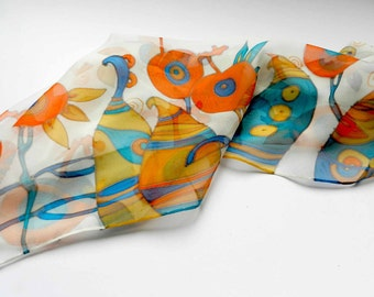 Abstract pomegranates scarf. Hand painted silk scarf  in orange, blue , yellow colors. Made to order.