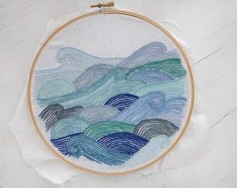 Hand Embroidery Pattern // Ocean Waves  // DIY Hoop Art //