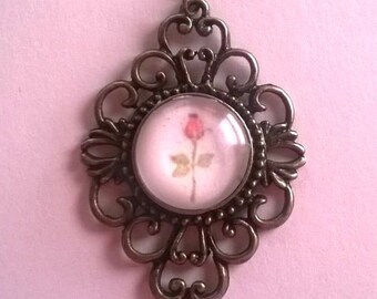 Pink Rosebud Pendant Necklace