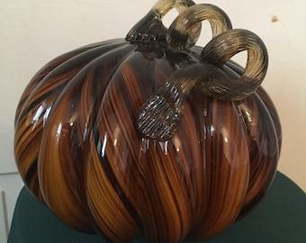 Exquisite amber & black, art glass pumpkin.