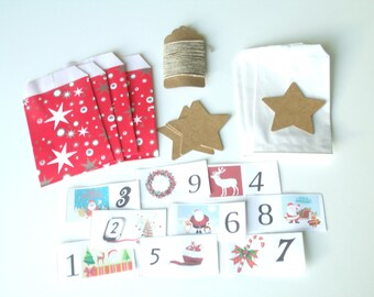 DIY Kit the White Christmas advent calendar and red stars