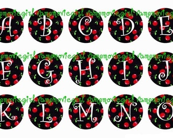 INSTANT DOWNLOAD...Cute Cherries Full Alphabet 1 Inch Circle Image Collage for Bottle Caps...Buy 3 get 1