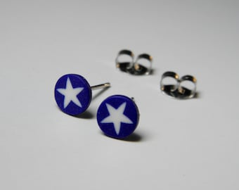 Little Millefiori White Star Post Earrings