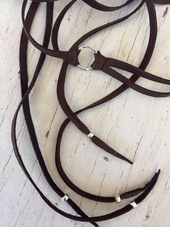 Bojo Mojo Choker. Deerskin leather with hand-forged ring long tail choker by ladeDAH! Jewelry.