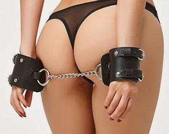 Black Leather Handcuffs, Bondage Cuffs,  Leather Bondage Restraints, Erotic Accessories